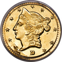 1854 50C Liberty Round 50 Cents, BG-423, High R.6, MS64 PCGS. A rare Period One round half dollar variety struck by M. D...