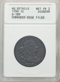 Large Cents, 1799 1C S-189, B-3, R.2 -- Corroded, Edge Filed -- ANACS. AG Details, Net Fair 2. ...