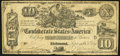 Confederate Notes:1861 Issues, Jumbo Margined T29 $10 1861 Fine.. ...