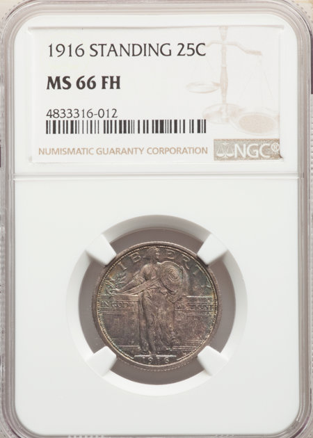 1916 25C STANDING, FH 66 NGC