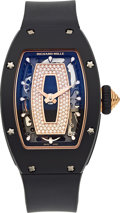 Timepieces:Wristwatch, Richard Mille, RM 07-01, Ladies Self-Winding, Black Ceramic and 18k Rose Gold, Circa 2017. ...