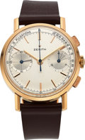 Timepieces:Wristwatch, Zenith, Very Rare Pulsation's Dial Chronograph, 18k Pink Gold, Ref. 550A, Circa 1960's. ...