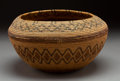 American Indian Art:Baskets, A Yokuts Polychrome Coiled Bowl...