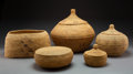 American Indian Art:Baskets, Five Eskimo Coiled Baskets... (Total: 5 )