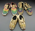 American Indian Art:Beadwork and Quillwork, Three Pairs of Plains Beaded Hide Moccasins... (Total: 3 )