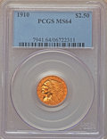 1910 $2 1/2 MS64 PCGS. PCGS Population: (492/146). NGC Census: (783/208). CDN: $950 Whsle. Bid for NGC/PCGS MS64. Mintag...