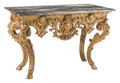 Furniture, A Continental Baroque-Style Carved Giltwood Console Table with Marble Top, 19th century . 34-3/8 x 52-3/8 x 27-1/2 inches (8...