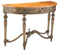 Furniture, An Italian Neoclassical Partial Gilt Demilune Satinwood Console Table, late18th century. Marks: E12.20, 208. 43-1/2 x 73...