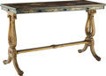 Furniture, A Regency-Style Japanned and Giltwood Side Table, 19th century. 29-3/4 x 48 x 18-1/4 inches (75.6 x 121.9 x 46.4 cm). PROP...