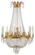 Lighting, A Twelve-Light Empire-Style Gilt Bronze and Glass Chandelier, early 20th century. 52 x 34 x 34 inches (132.1 x 86.4 x 86.4 c...
