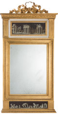Furniture, A Continental Neoclassical Carved Giltwood Trumeau Mirror, early 20th century . 60 x 30-1/8 x 2-1/2 inches (152.4 x 76.5 x 6...