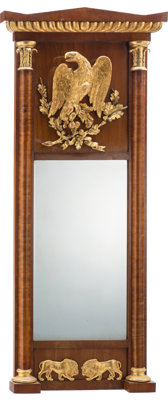 A Continental Trumeau Mirror with Giltwood Appliqué , late 19th century 55 x 24-1/4 x 2-3/4 inches (139.7 x 61.6...