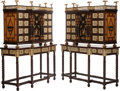 Furniture, A Pair of Spanish Renaissance-Style Inlaid Cabinets on Stands . 74 x 58 x 22-1/2 inches (188.0 x 147.3 x 57.2 cm) (each). ... (Total: 2 Items)