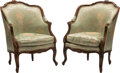 Furniture, A Pair of French Provincial Louis XV-Style Carved Walnut Armchairs with Silk Upholstery . 40 x 30 x 30 inches (101.6 x 76.2 ... (Total: 2 Items)