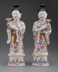 Ceramics & Porcelain, A Pair of Chinese Famille Rose Porcelain Attendant Figures, 20th century. 15-1/2 x 4-1/2 x 4 inches (39.4 x 11.4 x 10.2 cm)... (Total: 2 Items)