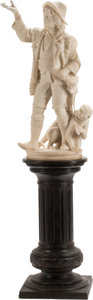 Carvings, An Italian Carved Carrara Marble Sculpture of a Boy and Monkey on Wood Pedestal, 19th century . 75 x 23 x 15-1/2 inches (190...