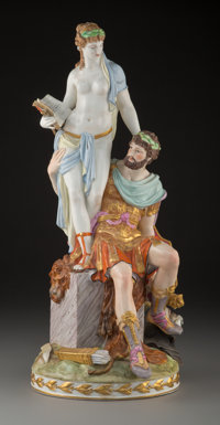 A KPM Polychrome Porcelain History and Mars Figural Group, late 19th century Marks: (scepter) 17-3/4 inches (4