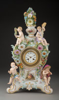 Ceramics & Porcelain, A Meissen Polychrome and Partial-Gilt Porcelain Clock, Germany, late 19th-early 20th century. Marks: (crossed swords in unde...