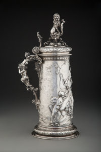 An Austro-Hungarian Figural Stein with Chased Repoussé Scene, 1872-1922 Marks: (dianakopf), (makers mark) 19 x...