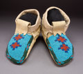 American Indian Art:Beadwork and Quillwork, A Pair of Plains Cree Beaded Hide Moccasins ...
