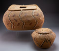 American Indian Art:Baskets, Two Northwest Coast Imbricated Basketry Items...