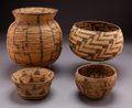 American Indian Art:Baskets, Four Pima / Papago Coiled Baskets ... (Total: 4 )