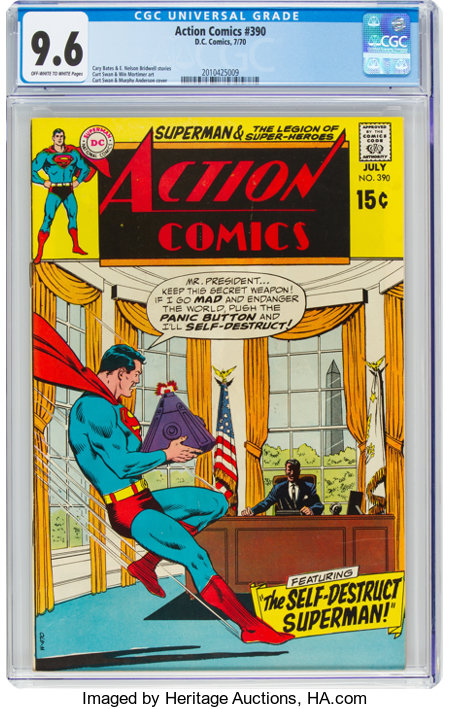 Action Comics #390 (DC, 1970) CGC NM+ 9.6 Off-white to white pages....