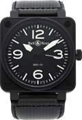 Timepieces:Wristwatch, Bell & Ross, BR01-92 Automatic, 46mm Black PVD, Circa 2000's. ...