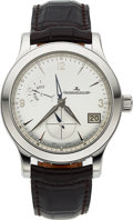Timepieces:Wristwatch, Jaeger-LeCoultre, Master Control HomeTime Big Date, Stainless Steel, Ref. 147.8.05.S, Circa 2005. ...