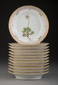 Ceramics & Porcelain, A Set of Twelve Royal Copenhagen Flora Danica Pattern Porcelain Plates, Denmark, 1966-1973. Marks: ROYAL (cr... (Total: 12 Items)
