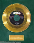 "Music Memorabilia:Awards, Fats Domino ""Please Don't Leave Me"" Imperial Gold Record Award(1958)...."