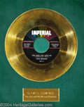 "Music Memorabilia:Awards, Fats Domino ""You Said You Love Me"" Imperial Gold Record Award(1958)...."