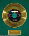 """Music Memorabilia:Awards, Fats Domino """"All By Myself"""" Imperial Gold Record Award (1958)...."""