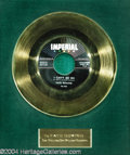 "Music Memorabilia:Awards, Fats Domino ""I Can't Go On"" Imperial Gold Record Award (1958)...."
