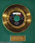 "Music Memorabilia:Awards, Fats Domino ""Bo Weevil"" Imperial Gold Record Award (1958)...."
