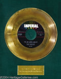 "Music Memorabilia:Awards, Fats Domino ""I'm In Love Again"" Imperial Gold Record Award(1958)...."