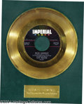 "Music Memorabilia:Awards, Fats Domino ""Blue Monday"" Imperial Gold Record Award (1958)...."