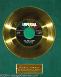 "Music Memorabilia:Awards, Fats Domino ""It's You I Love"" Imperial Gold Record Award (1958)...."