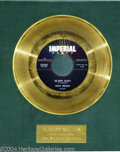"Music Memorabilia:Awards, Ricky Nelson ""Be-Bop Baby"" Imperial Gold Record Award (1958)...."