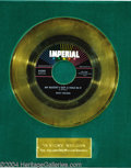 "Music Memorabilia:Awards, Ricky Nelson ""My Bucket's Got A Hole In It"" Imperial Gold RecordAward (1958)...."