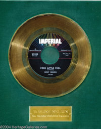 "Ricky Nelson ""Poor Little Fool"" Imperial Gold Record Award (1958). Ricky Nelson's all-time biggest hit was als..."
