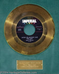 "Music Memorabilia:Awards, Ricky Nelson ""Never Be Anyone Else But You"" Imperial Gold RecordAward (1959)...."