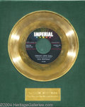 "Music Memorabilia:Awards, Slim Whitman ""Indian Love Call"" Imperial Gold Record Award(1958)...."