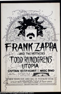 "Music Memorabilia:Posters, Frank Zappa and the Mothers - ""New Years Eve"" Concert Poster (Wolfand Rissmiller, 1975)...."