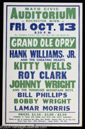 Music Memorabilia:Posters, Hank Williams Jr. - Concert Poster (Central Show Printing,1967)....