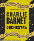 Music Memorabilia:Posters, Charlie Barnet Signed Window Card, plus Ray Noble Unsigned WindowCard.... (2 items)