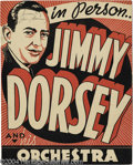 Music Memorabilia:Posters, Jimmy Dorsey Signed Window Card....