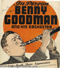 Music Memorabilia:Posters, Benny Goodman Signed Window Card (Also Signed by Teddy Wilson andLionel Hampton)....