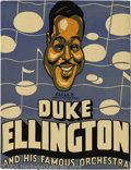 Music Memorabilia:Posters, Duke Ellington Signed Window Card....