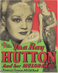 Music Memorabilia:Posters, Ina Ray Hutton Signed Window Card....